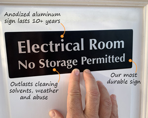 Electrical Room No Storage Permitted Sign