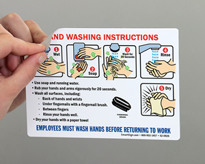 Employee Hand Washing Instructions Steps Sign with Graphics
