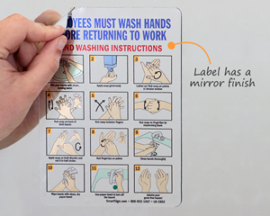 Employees Wash Hands Instruction Steps Mirror Decal