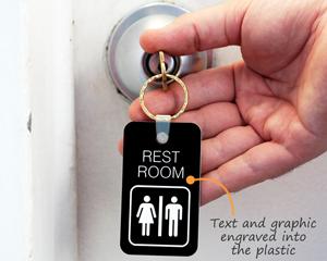 Engraved plastic key tag for restroom