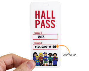 Hall pass with teacher's name