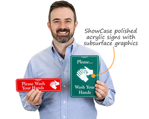 Wash your hands showcase signs