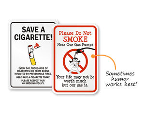 Humorous No Smoking Signs