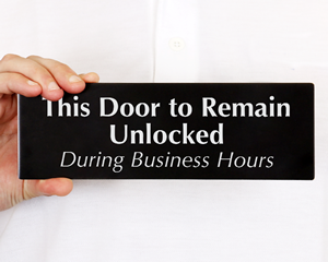 Keep Door Unlocked Signs
