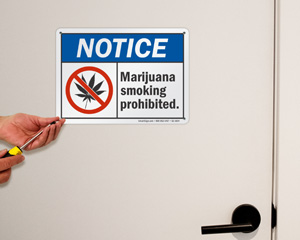 Marijuana smoking prohibited sign