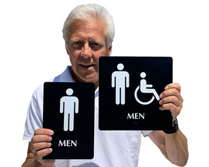Mens room signs for both accessible and standard restrooms