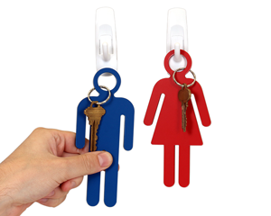 Mens and womens room key tags