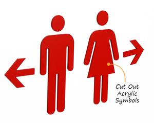 Modular acrylic bathroom symbols
