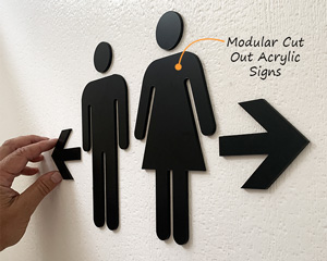 Modular restroom signs made from thick acrylic