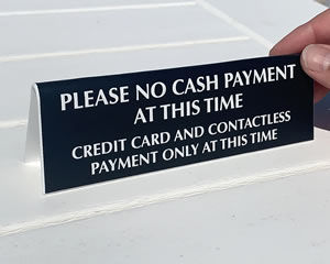 No cash payment allowed sign