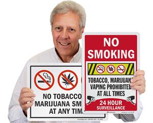 No marijuana smoking in this area signs