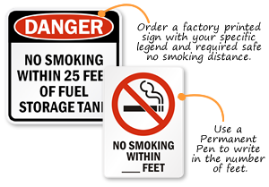 Custom No Smoking Within _ Feet Signs