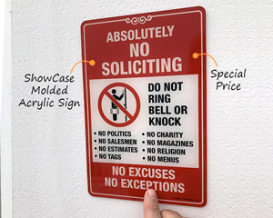 No Soliciting Sign for Door