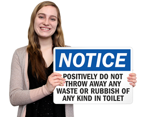 No Waste In Toilet Signs