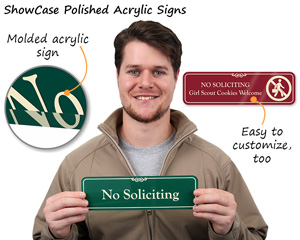 No Soliciting Showcase Door Signs