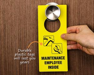 Plastic maintenance door hangers
