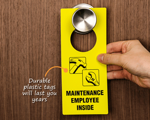 Plastic maintenance door hangers