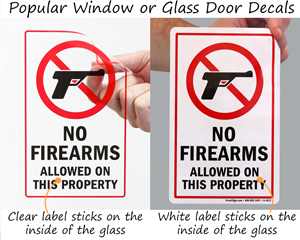 No firearms allowed on property signs