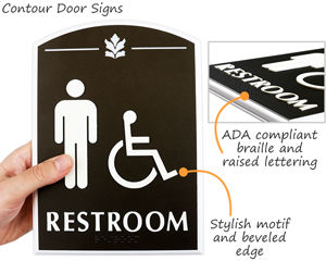 Premium bathroom braille signs