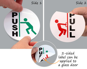 Push and pull two sided decal for glass doors