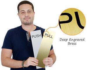 Push pull brass door plate