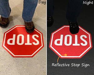 Reflective stop sign for floor