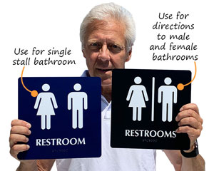 Restroom and restrooms signs