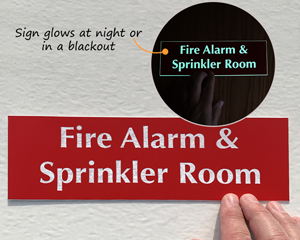 Reflective Fire alarm and spinkler room sign