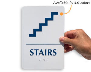 Stair sign with braille