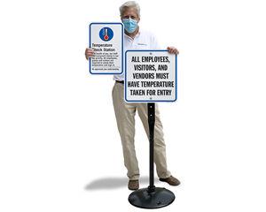 Temperature screening signs for jobsite