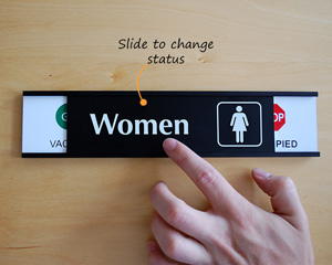 Vacant or occupied womens room sign