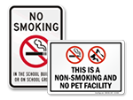 Facility No Smoking Signs & Labels