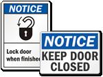 Keep Lock Doors Signs