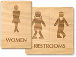 Wooden Funny Restroom Signs
