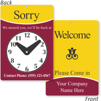 2-Sided Customizable Be Back Clock Sign