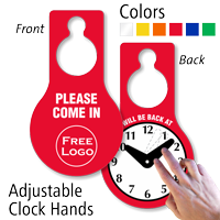 Custom Logo Hang Tag with Be Back Clock