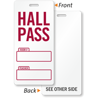 School Hall Pass Tag, Writable Teacher Name, Room