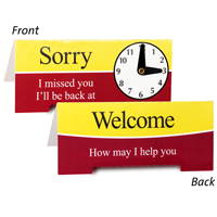 Sorry Missed You Be Back Clock Sign