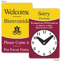 We Missed You Bilingual Be Back Clock Sign