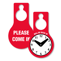 Will Be Back Clock Door Hanger