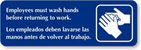 Employees Must Wash Hands Diamond Plate Door Sign