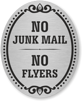 No Junk Mail No Flyers DiamondPlate Door Sign