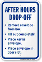 After Hour Drop Off Sign