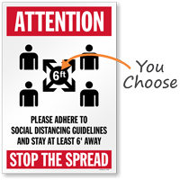 Attention Adhere to Social Distancing Guidelines Stop the Spread Social Distancing Sign
