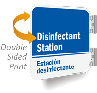 Disinfectant Station Bilingual Double Sided Sign
