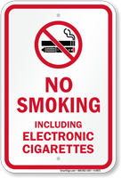 No Smoking Including Electronic Cigarettes Graphic Sign