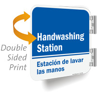 Handwashing Station Bilingual Double Sided Sign