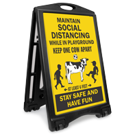 Maintain Social Distancing While In Playground Sidewalk Sign