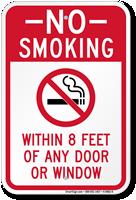 No Smoking Within 8 Feet Of Door Sign