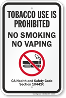 No Smoking No Vaping Safety Code Section Sign